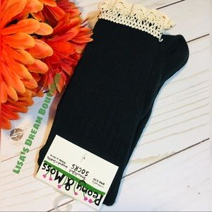 New! Long Black Knee High Socks